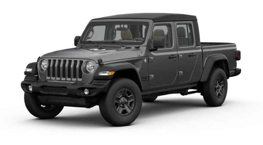 A dark gray 2020 Jeep Gladiator facing left on white