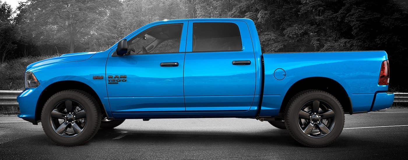 A 2019 Ram 1500 Classic in the limited edition Hydro Blue package, coming to select Ram dealers near me and you in 2019