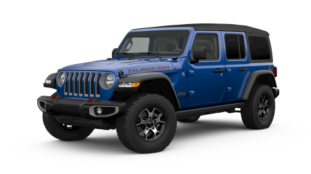 A blue 2019 Jeep Wrangler Unlimited Rubicon facing left