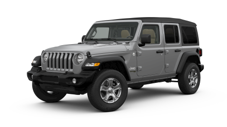 A silver 2019 Jeep Wrangler Unlimited Sport S facing left