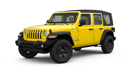 A yellow 2019 Jeep Wrangler Unlimited Sport facing left