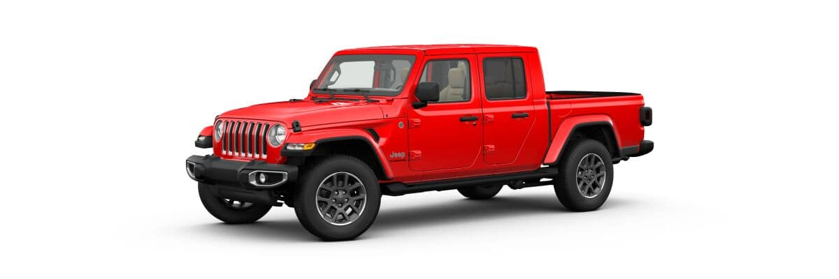 A red 2020 Jeep Gladiator Overland hard top facing left