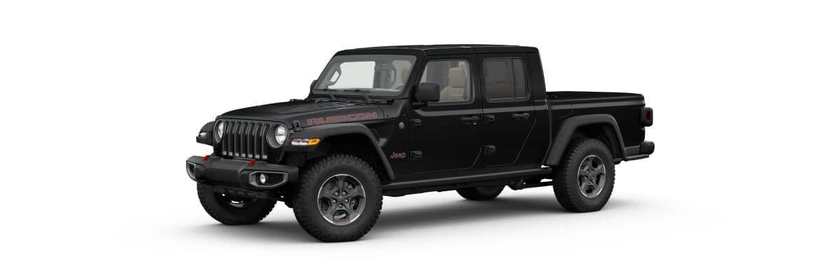 A black 2020 Jeep Gladiator Rubicon facing left