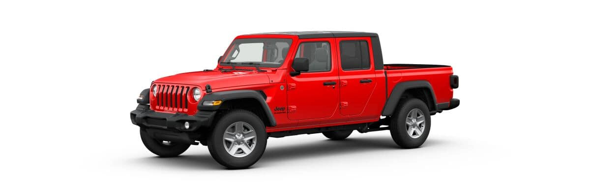 A red 2020 Jeep Gladiator Sport S soft top facing left