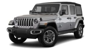 A silver 2020 Jeep Wrangler is facing left.