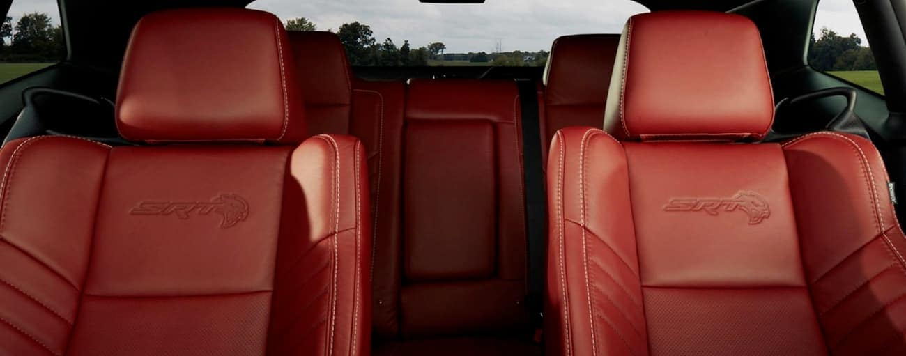 The red leather seats in an SRT trim