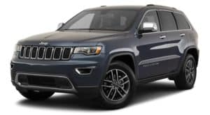 A blue 2020 Jeep Grand Cherokee is facing left.