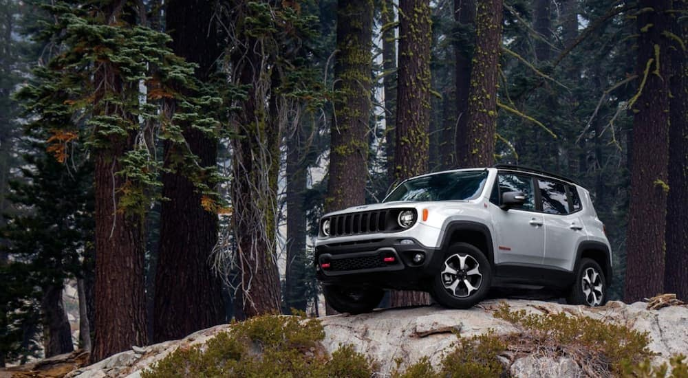 A silver 2020 Jeep Renegade Trailhawk is on a large rock in the woods.
