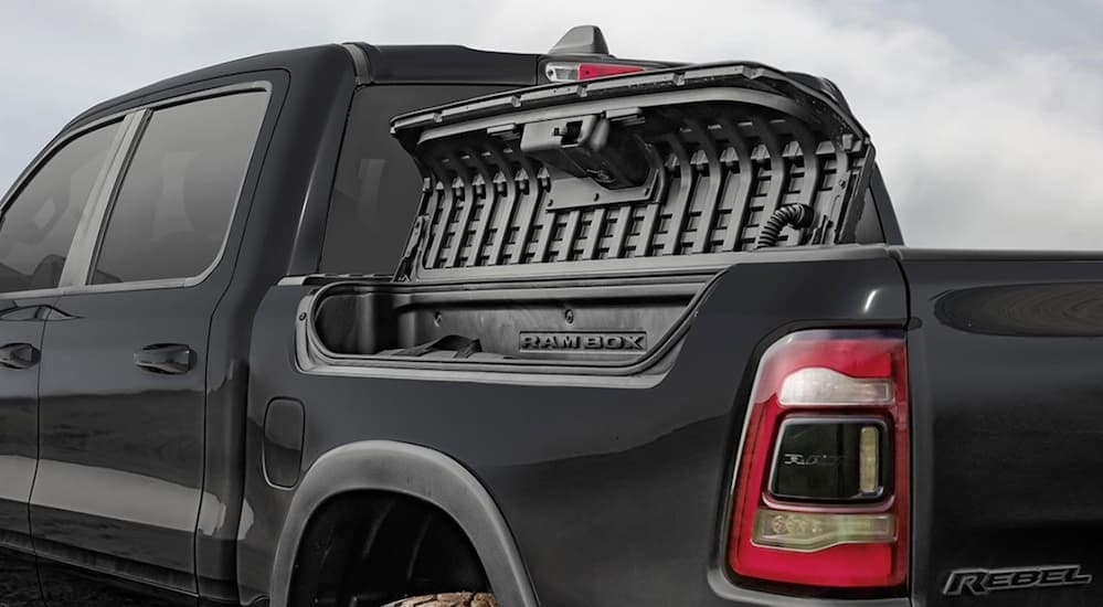 The RamBox Management Storage System is shown on a black Ram Rebel.