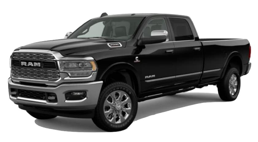 A black 2020 Ram 2500 is facing left.