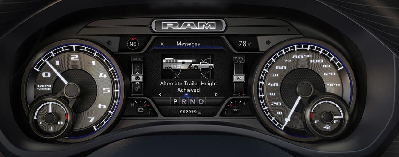 A close up of the drivers display of a 2020 Ram 2500 is shown.