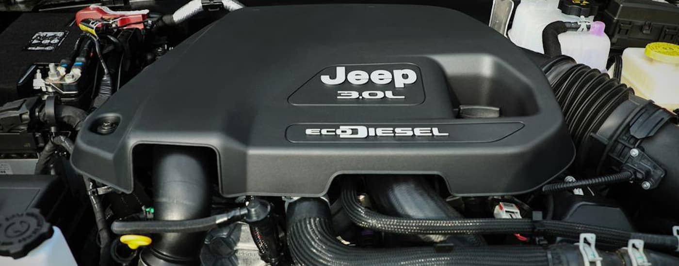 A close up of the new EcoDiesel engine is the engine bay of a 2020 jeep Wrangler.