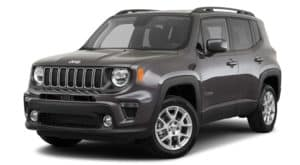 A grey 2020 Jeep Renegade is facing left.