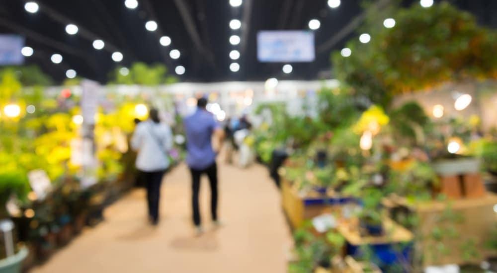 A blurred couple is walking through a garden expo.