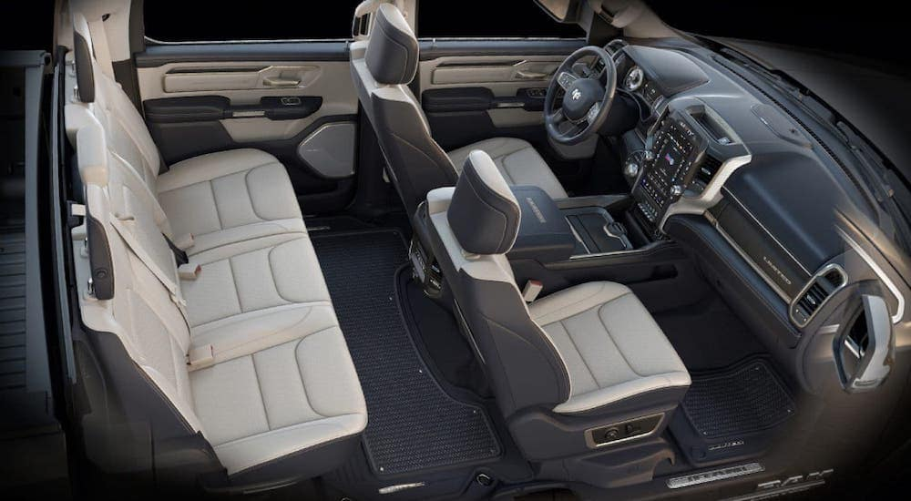 A view of the interior of a 2020 Ram 1500 is shown from a high angle.
