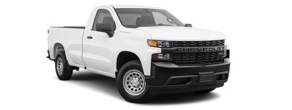 A white 2020 Chevy Silverado WT is angled right on a white background.