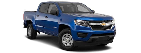 A blue 2020 Chevy Colorado is angled right on a white background.