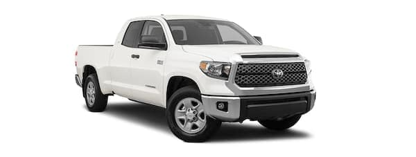 A white 2020 Toyota Tundra is facing right.