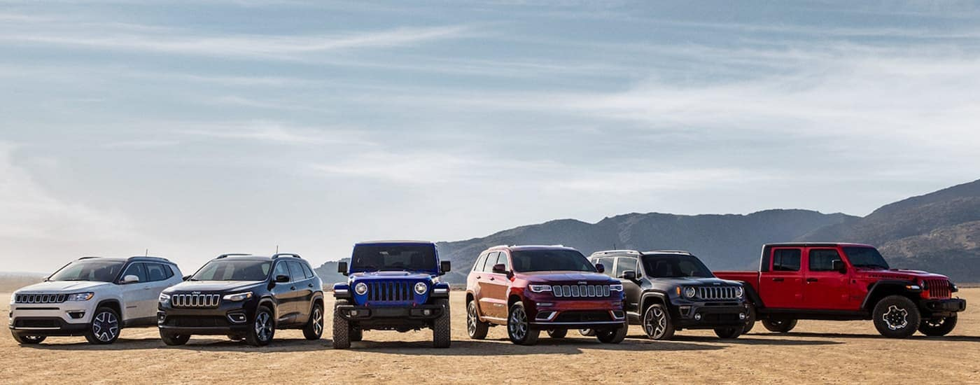 The 2020 lineup of Jeep models is parked in the desert with hills in the distance.