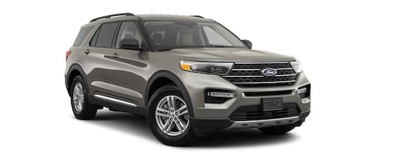 A grey 2020 Ford Explorer is angled right.