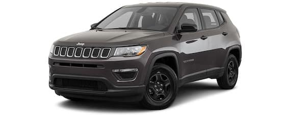 A black 2020 Jeep Compass is angled left.