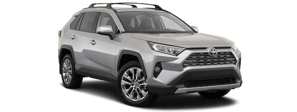A silver 2020 Toyota Rav4 is angled right.