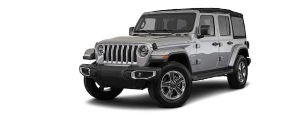 A silver 2020 Jeep Wrangler Unlimited is facing left.
