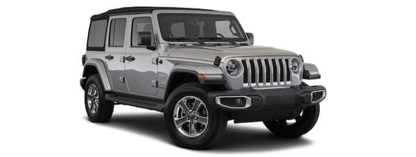 A grey 2020 Jeep Wrangler Unlimited is facing right.