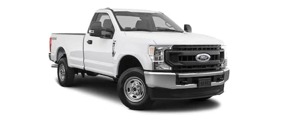 A white 2020 Ford F-250 is angled right.