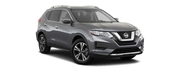 A grey 2020 Nissan Rogue is angled right.