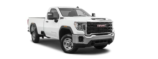 A white 2020 GMC Sierra 2500 is angled right.