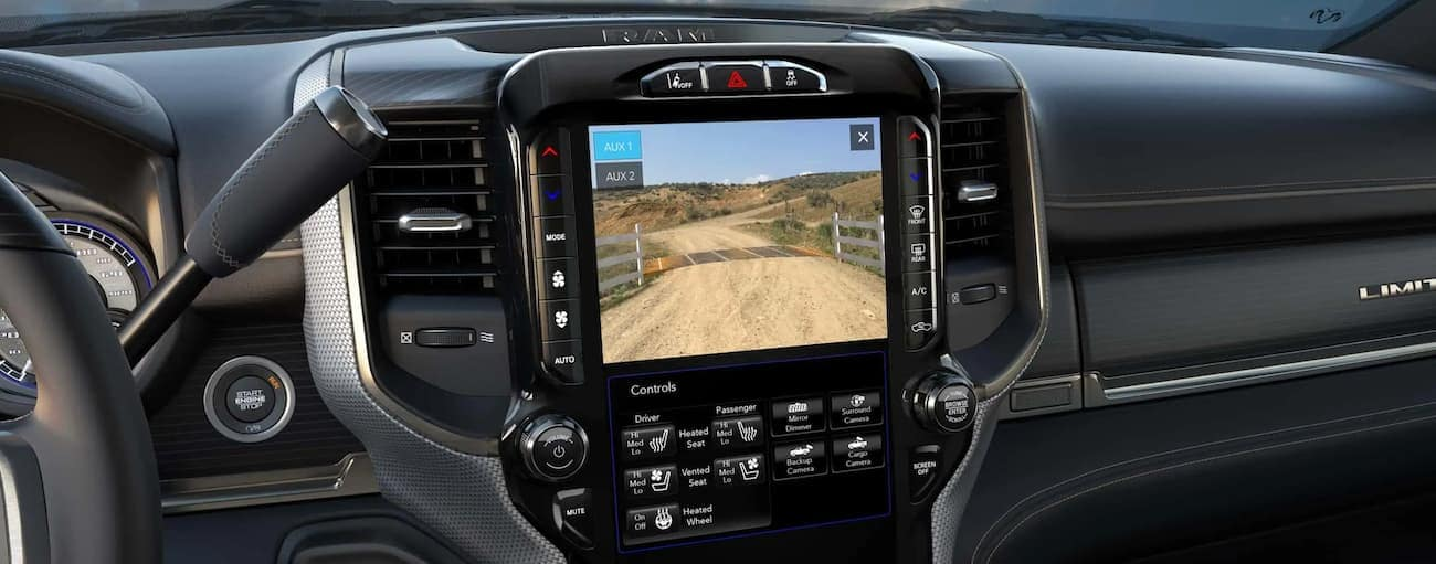 The rear view camera screen is shown on the infotainment screen in a 2020 Ram 2500.