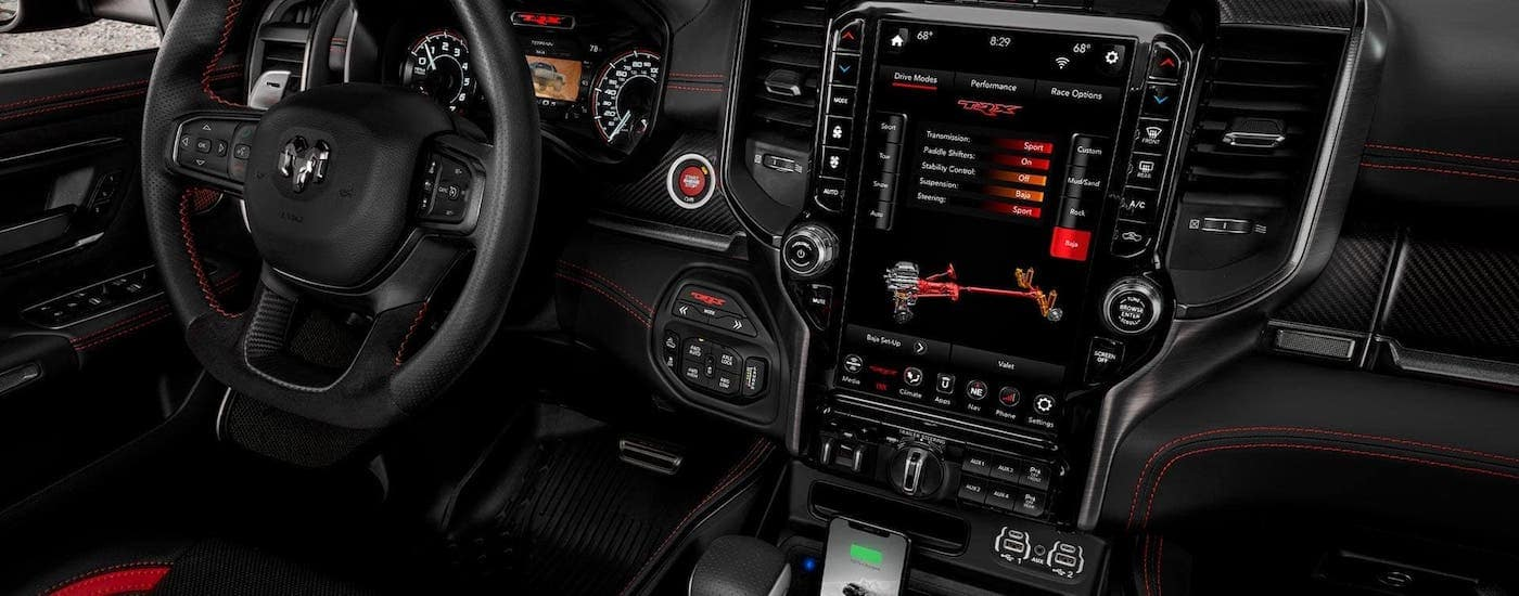 The black interior of a 2021 Ram TRX is shown.