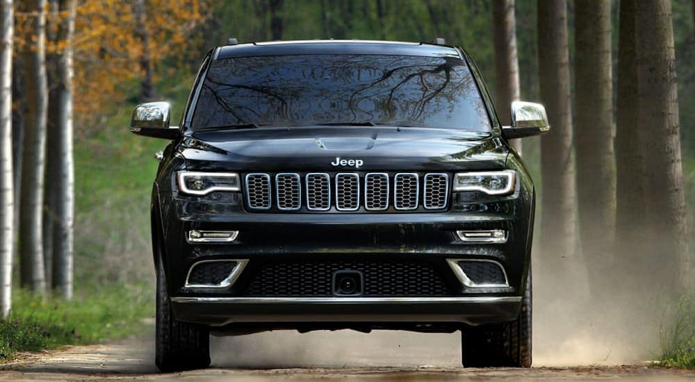 A black 2019 Used Jeep Grand Cherokee is shown from the front on a tree-lined road.