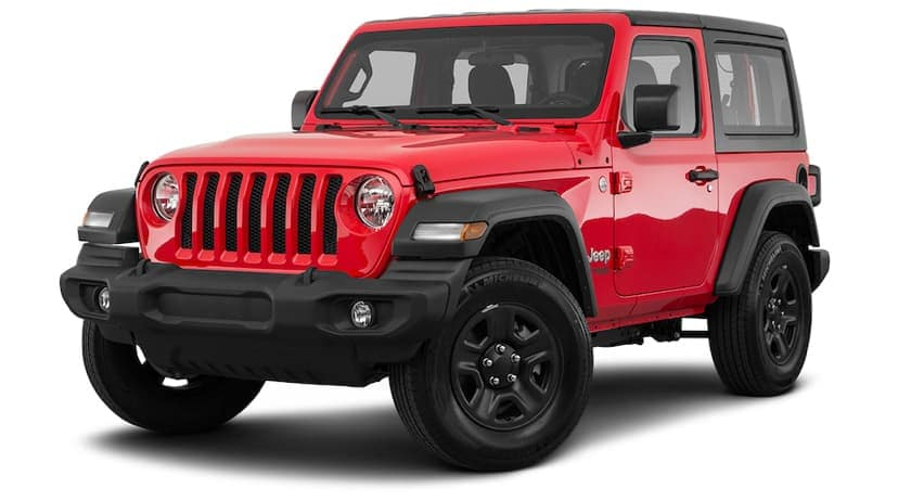A red 2021 Jeep Wrangler Sport is angled left.