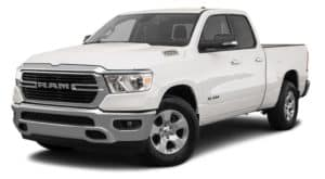 A white 2021 Ram 1500 Big Horn is angled left.