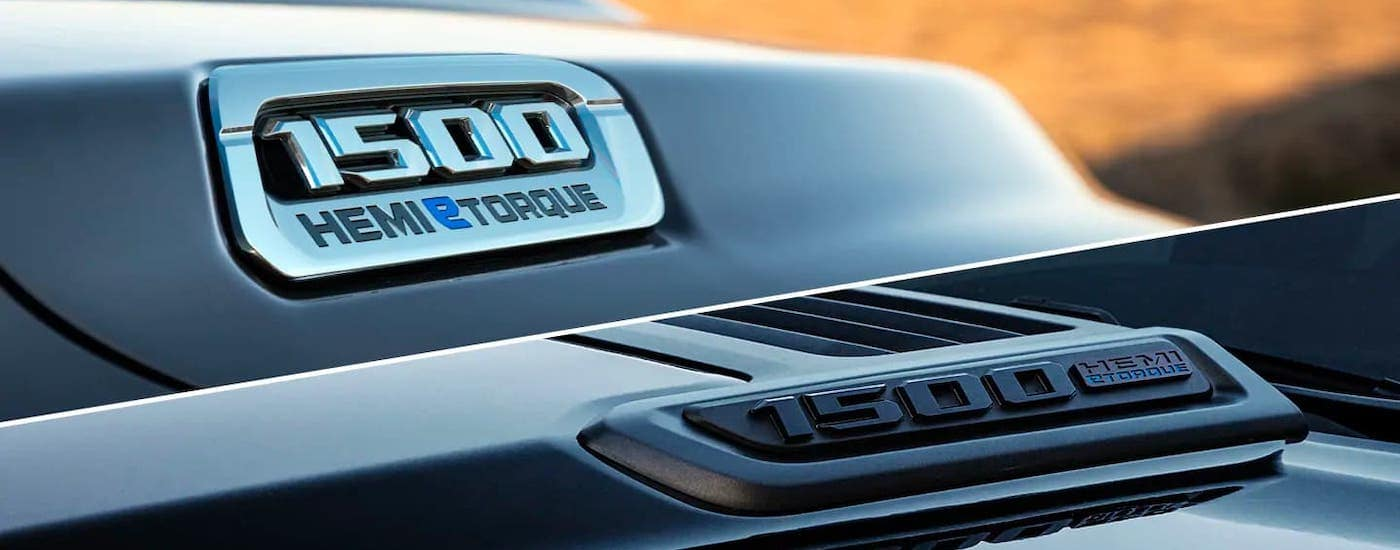 A closeup shows the Hemi eTorque badging on the hood of a black 2021 Ram 1500.