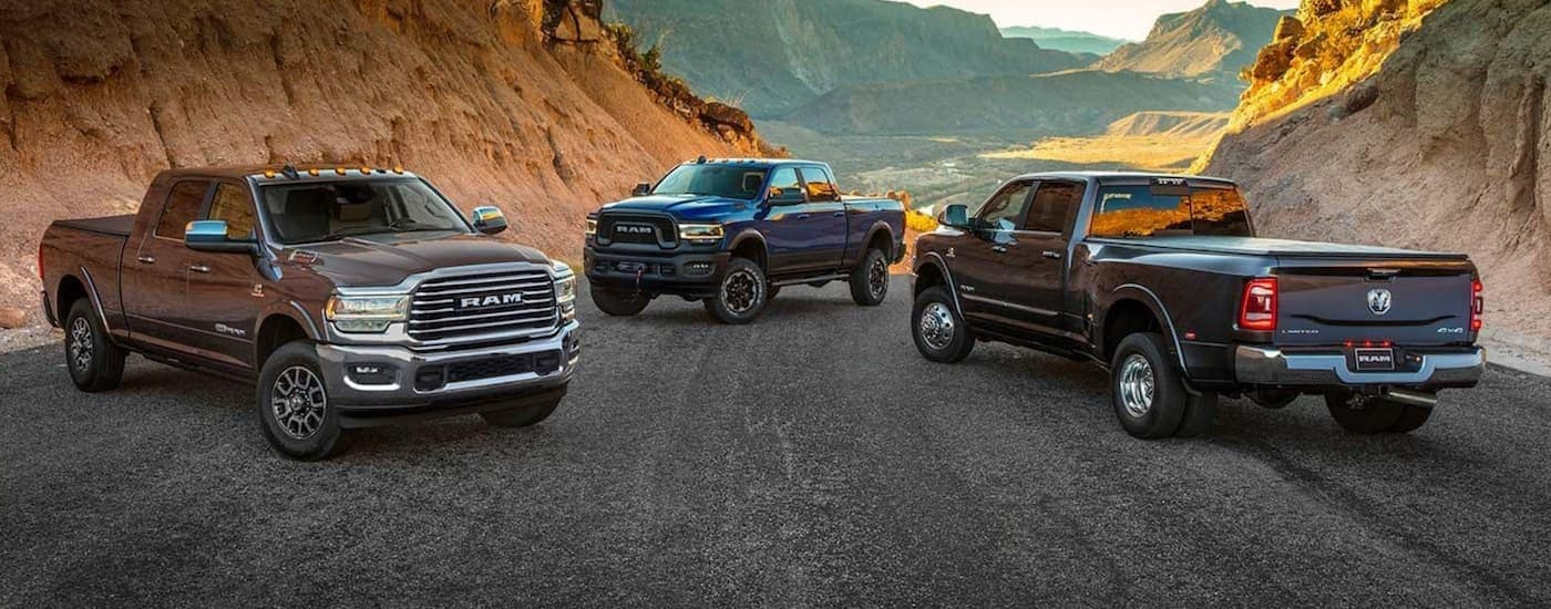A brown, a blue, and a black 2019 used Ram 2500 are parked across a road with desert mountain views.