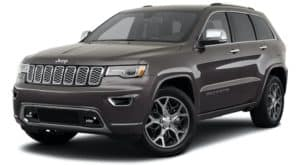 A grey 2021 Jeep Grand Cherokee is angled left.