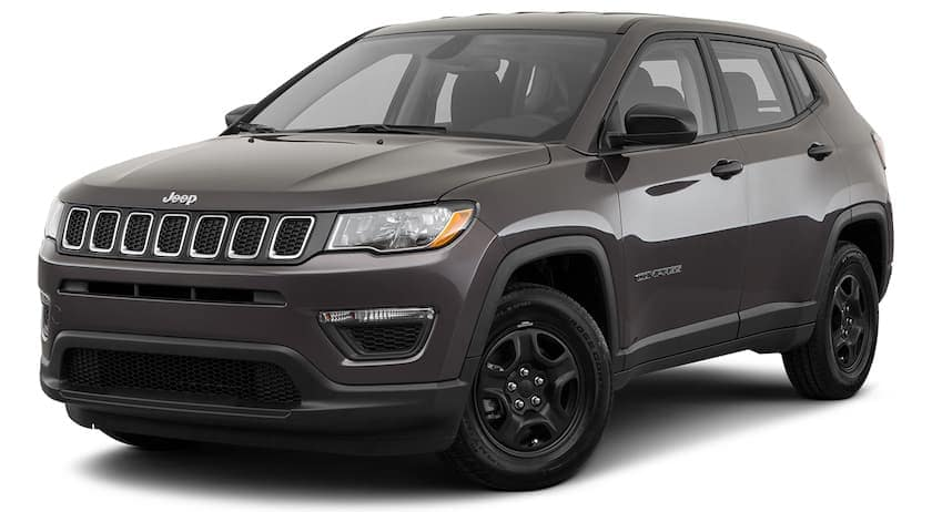 A dark grey 2021 Jeep Compass is angled left.
