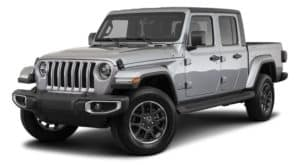 A silver 2021 Jeep Gladiator is angled left.