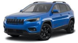 A blue 2021 Jeep Cherokee. is angled left.