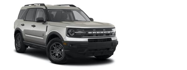 A silver 2021 Ford Bronco is angled right.