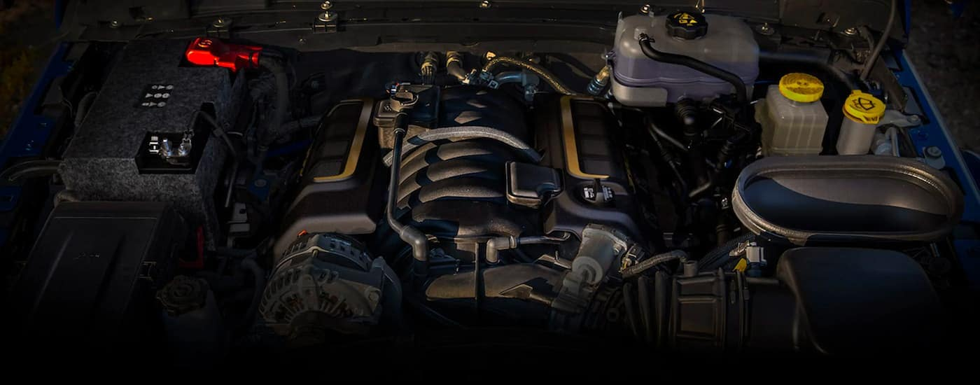 A close up shows the engine bay on a 2021 Jeep Wrangler Rubicon 392.