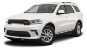 A white 2021 Dodge Durango is angled left.