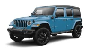 A blue 2021 Jeep Wrangler 4xe is angled left.