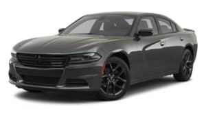 A dark grey 2021 Dodge Charger is angled left.