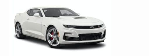 A white 2021 Chevy Camaro is angled right.
