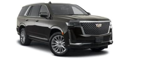 A black 2021 Cadillac Escalade is angled right.
