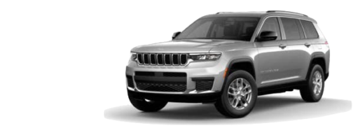 A silver 2021 Jeep Grand Cherokee L Laredo is angled left.